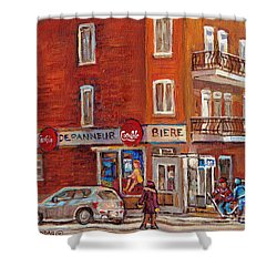 Hockey Game At Corner Store-montreal Depanneur-city Scene Painting-carole Spandau Shower Curtain by Carole Spandau