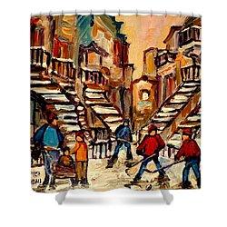Hockey Game Near Winding Staircases Montreal Streetscene Shower Curtain by Carole Spandau
