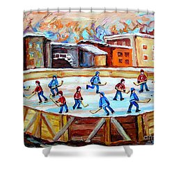 Hockey In The City Outdoor Hockey Rink Montreal Memories Winter City Scenes Painting Carole Spandau  Shower Curtain by Carole Spandau