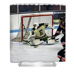 Hockey Off The Handle Shower Curtain by Thomas Woolworth