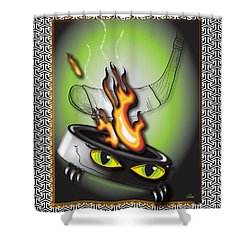 Hockey Puck In Flames Shower Curtain