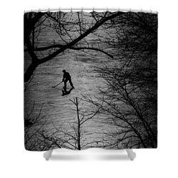 Hockey Silhouette Shower Curtain by Andrew Fare