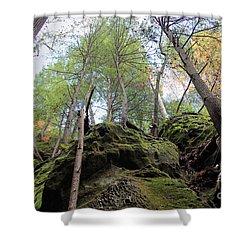 Hocking Hills Moss Covered Cliff Shower Curtain by Karen Adams