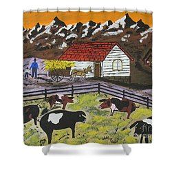 Shower Curtain featuring the painting Hog Heaven Farm by Jeffrey Koss