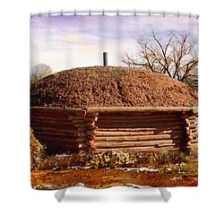 Hogan Monument Valley Winter Painting Shower Curtain by Bob and Nadine Johnston