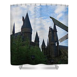 Hogwarts Castle With Signs Shower Curtain