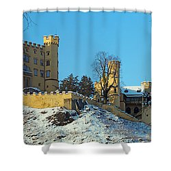 Hohenschwangau Castle Panorama In Winter Shower Curtain by Rudi Prott