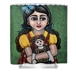 Holding Frida With Butterfly Shower Curtain