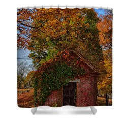 Shower Curtain featuring the photograph Holding Up The  Fall Colors by Jeff Folger