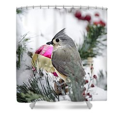 Holiday Cheer With A Titmouse Shower Curtain by Christina Rollo