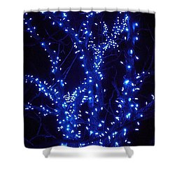 Shower Curtain featuring the photograph Holiday Glow Blue by Darren Robinson