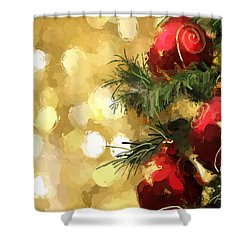 Shower Curtain featuring the digital art Holiday Ornaments by Anthony Fishburne