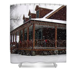 Holiday Porch Shower Curtain by Claudia Goodell