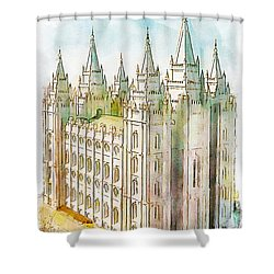 Shower Curtain featuring the painting Holiness To The Lord by Greg Collins