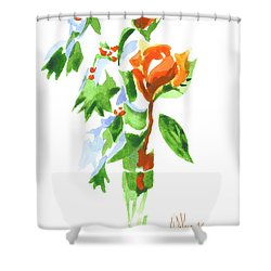 Holly With Red Roses In A Vase Shower Curtain by Kip DeVore