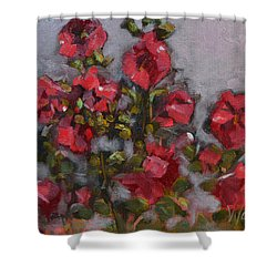 Shower Curtain featuring the painting Hollyhocks by Pattie Wall