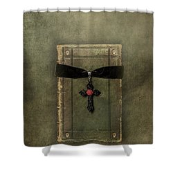 Holy Book Shower Curtain by Joana Kruse