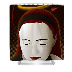 Holy Mary Shower Curtain by Sandra Hoefer