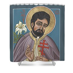 Shower Curtain featuring the painting Holy New Martyr Father John Karastamatis Of Santa Cruz 216 by William Hart McNichols