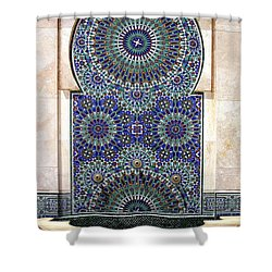 Holy Water Fountain Hassan II Mosque Sour Jdid Casablanca Morocco  Shower Curtain