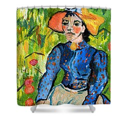 Homage To Vincent Young Women In Straw Hat Sitting In Wheat Field Shower Curtain by Ginette Callaway