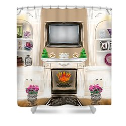 Shower Curtain featuring the digital art Home For The Holidays by Christine Fournier