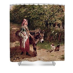 Home From Market Shower Curtain by Edgar Bundy