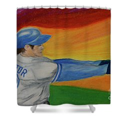 Shower Curtain featuring the drawing Home Run Swing Baseball Batter by First Star Art