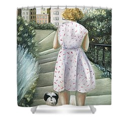 Home Study Shower Curtain by Caroline Jennings