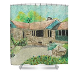 Shower Curtain featuring the painting Home Sweet Home by Jeanne Fischer