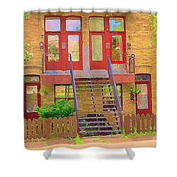 Home Sweet Home Red Wooden Doors The Walk Up Where We Grew Up Montreal Memories Carole Spandau Shower Curtain by Carole Spandau