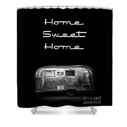 Home Sweet Home Vintage Airstream Shower Curtain by Edward Fielding