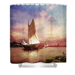 Home To The Harbor Shower Curtain