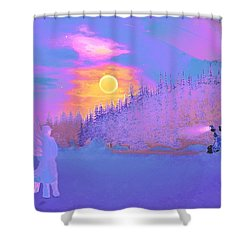 Homebound Train Angel And A Suitcase Shower Curtain