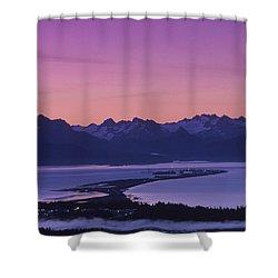 Homer Spit Sunset Kenai Mtns Kenai Shower Curtain by Jeff Schultz