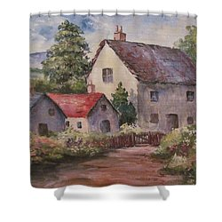 Shower Curtain featuring the painting Homestead by Megan Walsh