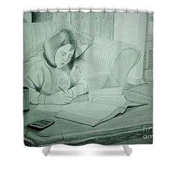 Homework Shower Curtain