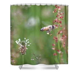 Honeybee Flying In A Meadow Shower Curtain by Lucinda VanVleck