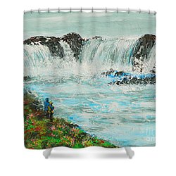 Honeymoon At Godafoss Shower Curtain