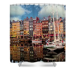 Honfleur Harbor Shower Curtain