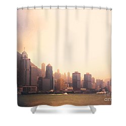 Hong Kong Harbour Sunset Shower Curtain by Pixel  Chimp