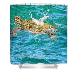 Honu Hawaiian Green Sea Turtle Shower Curtain by Lehua Pekelo-Stearns