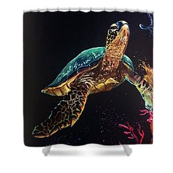 Honu's Reef Shower Curtain by Marco Antonio Aguilar