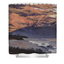 Shower Curtain featuring the painting Hookipa Sunset by Darice Machel McGuire