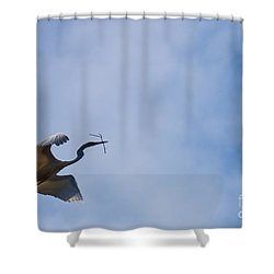 Hopeful Egret Building A Home  Shower Curtain