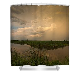 Horicon Marsh Storm Shower Curtain by Steve Gadomski