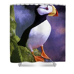 Horned Puffin Shower Curtain by David Wagner