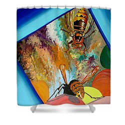 Shower Curtain featuring the painting Hornets by Daniel Janda
