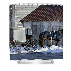 Horse And Buggy Parked Shower Curtain