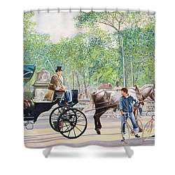 Horse And Carriage Shower Curtain by Anthony Butera